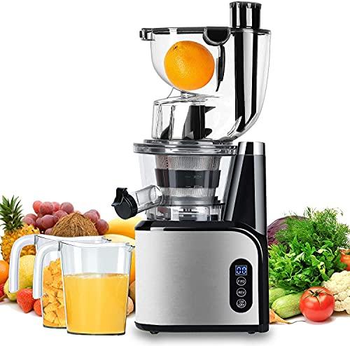 Aobosi Slow Juicer Licuadora para Fruta y Verdura de Prensado en Frio Extractor de Jugos para Fruta Entera con Baja Velocidad de 45RPM Tapa Antigoteo Sin BPA Incluye Frascos y Cepillo(Plata)