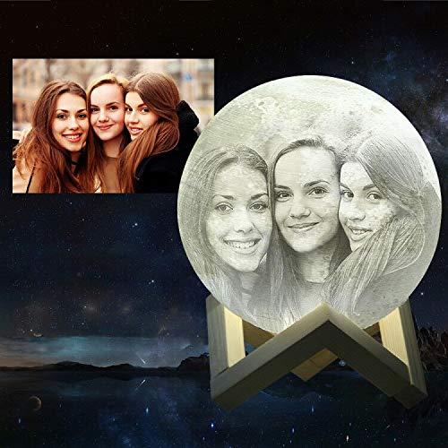 Mond-Lampe, personalisierbar (Foto, Text, Muster) auf dem Mond, 3D-Druck, Mondkugel Licht, leuchtende Mondlampe, Touch-Wechsel in 2 Farben, (7.9Zoll/20cm)