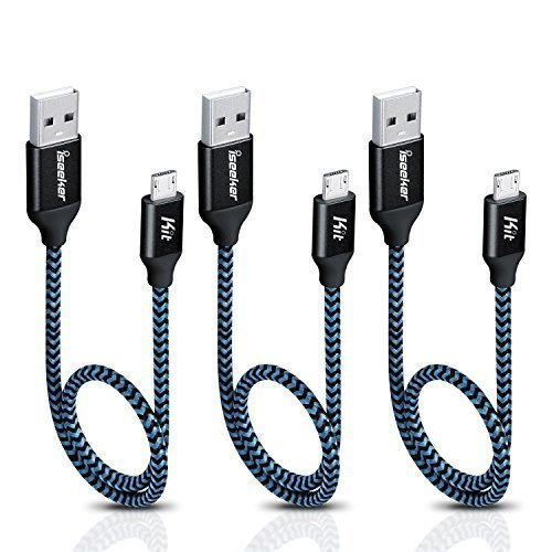 iSeekerKit Short Micro USB Cable 1Ft Nylon Braided Fast USB Charging Cord Compatible for for External Battery Charger, Samsung, HTC, LG, Android and More [3 Pack]