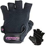 Contraband Pink Label 5057 Womens Basic Lifting Gloves (Pair) - Light-Medium Padded Durable Leather Palm Fingerless Classic Workout Gloves Designed & Sized for Women (Black, Medium)