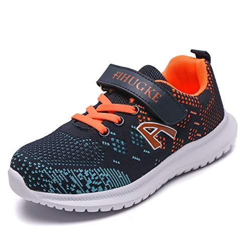 Unpowlink Kinder Schuhe Sportschuhe Ultraleicht Atmungsaktiv Turnschuhe Klettverschluss Low-Top Sneakers Laufen Schuhe Laufschuhe für Mädchen Jungen 28-37, Dunkelblau Orange-a, 32 EU