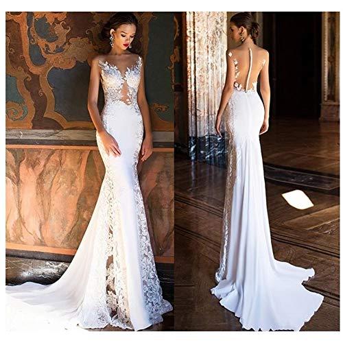 QING XIN-1225 Ballkleid,brautkleid Mermaid Brautkleid Sexy SpitzeAppliques Brautkleides durchschauen Back Beach Brautkleider Abendkleid,Abendkleider elegant für Hochzeit (Color : White, US Size : 4)