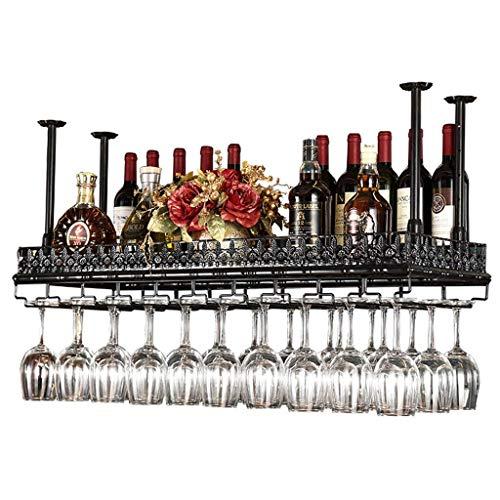 Stijlvolle Simplicity Bar Unit Drijvende Planken Stijlvolle Eenvoud Wandmontage Wijnrek, Opknoping Wijnglazen Houder, Stijlvolle Eenvoud Wandplank Opslag Organizer Rack, Rustieke Wijnhouder, Industrieel 120×35cm Zwart