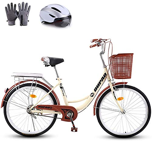 Bicycle Women's Lightweight Adult City Student Commuter Car 20/24/26 Inch Single Speed, Retro Design,20in