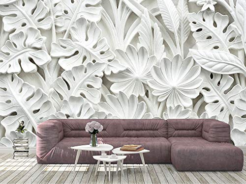 Oedim Papel Pintado para Pared Flores Blancas 3D| Mural | Papel Pintado | 400 x 300 cm | Decoración comedores, Salones,...