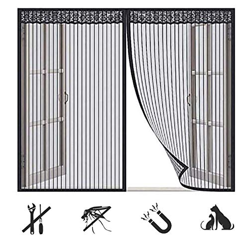 Magnet Fliegengitter Fenster Innen, Schwarz Anti-Moskito Fliegenvorhang, Ohne Bohren, Dachfenster Schiebefenster - (63x77inch)