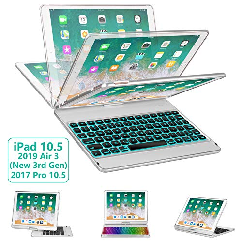 iPad Pro 10.5 Keyboard Case 2017/ iPad Air 3 Case with Keyboard 10.5 2019-360 Rotate 7 Color Backlit Wireless Keyboard with Smart Folio Hard Back Cover, Ultra Slim, Auto Sleep/Wake, Silver