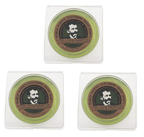 Col. Conk World's Famous Shaving Soap, Lime -- 3 Pack -- Each piece Net Weight 2.25 Oz by Colonel Conk