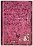 Cuaderno / Diario: First Class Mail, color púrpura brillante, con escritura dentro y fuera, con líneas, de tapa dura