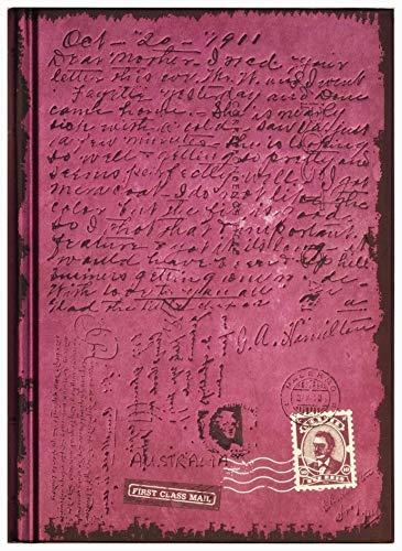 Taccuino / Diario: First Class Mail, colore porpora lucente, con la scrittura fuori e dentro, a righe, libro rilegato