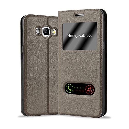 Cadorabo Funda Libro para Samsung Galaxy J7 2016 en MARRÓN Piedra - Cubierta Proteccíon con Cierre Magnético, Función de Suporte y 2 Ventanas- Etui Case Cover Carcasa