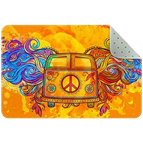 Yoliveya Alfombrillas absorbentes de baño, estilo hippie, estilo vintage, para coche, mini furgoneta, grande, suave, antideslizante, para el hogar, oficina interior/exterior, 35 x 24 pulgadas