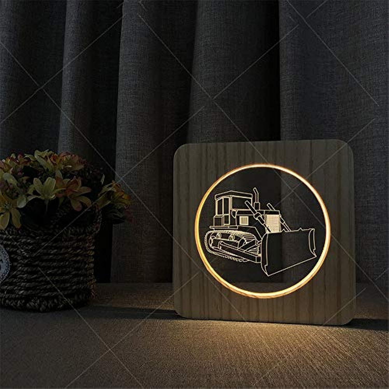 3D Illusion Lampe Kreative Bulldozer Pattern 3D Holz Acryl Illusion LED Nacht Schreibtischlampe Geschenk Für Kinder Kinder Erwachsene Schlafzimmer Wohnzimmer Dekoration Lampe USB Powerot Warm Lights