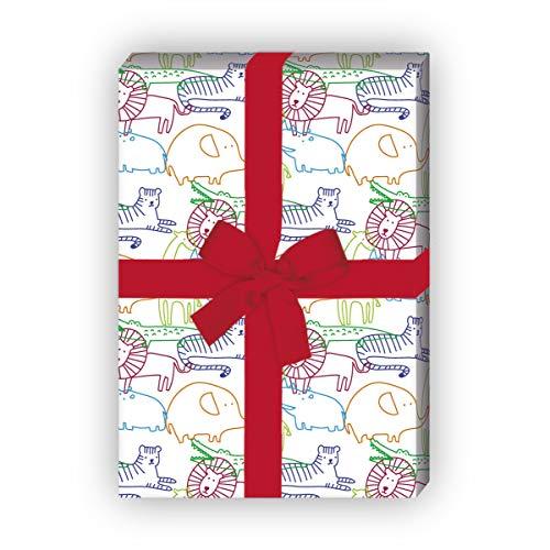 Kartenkaufrausch Kleurrijke cadeaupapierset voor kinderen met wilde dieren voor een luxe geschenkverpakking 32 x 48 cm, 4 vellen voor het inpakken van verjaardagen, kinderen, tieners, wit