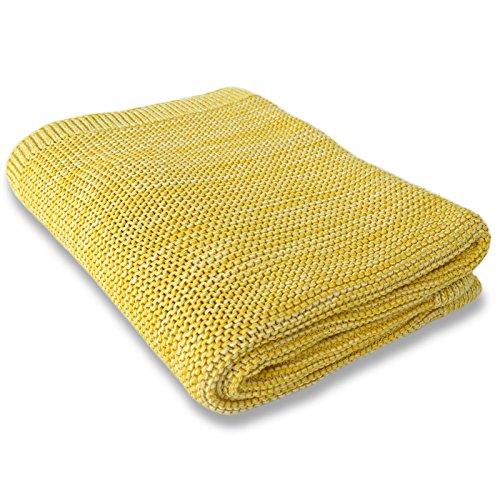 casa pura Wohndecke Amelia mit Strick Muster | schadstoffgeprüft | kuschelige Decke aus Baumwolle | Größe wählbar (150x200 cm) Baumwolldecke - Kuscheldecke