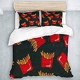 Set copripiumino, schizzo realistico stile doodle croccante patatine fritte rosse scatole di carta patate fritte su uno sfondo di lavagna nera, copripiumino qualità hotel set 3 pezzi