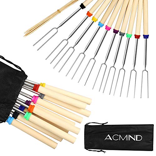 Great Price! Acmind Marshmallow Roasting Sticks 32 Inch,10 Bamboo Skewers,Kids Camping Accessories f...