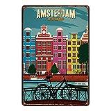 Sonamdws Cartel de metal de estilo único de Amsterdam con letrero de metal que no se oxida, de aluminio, aspecto vintage, para decoración de hogar, bar, café, pared, 20,3 x 30,5 cm