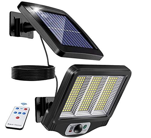 センサーライト 屋外225LEDソーラーライト 5Mケーブル モーションディテクター付 3つ知能モード 太陽光発電 防水 人感センサー自動点灯 ガーデンライト 屋外ウォールライト 壁掛け/庭先/表玄関/駐車場な