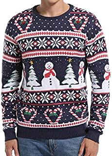 *daisysboutique* Men's Christmas Holiday Snowman and Tree Ugly Sweater Cute Pullover (Love Canes Small)