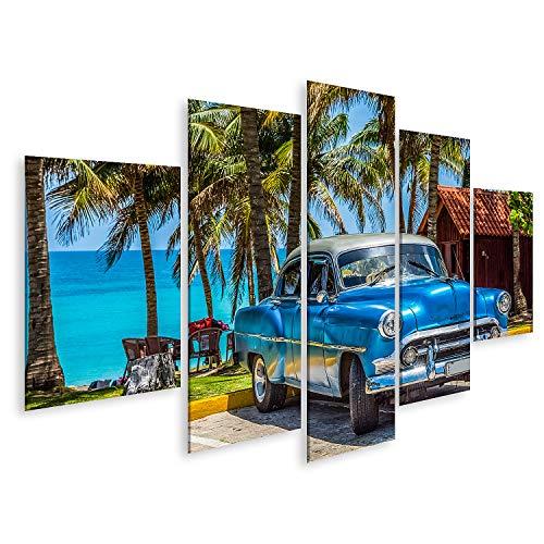 islandburner Cuadro en Lienzo Clásico Coche Chevrolet Americano Azul con Techo Plateado estacionado en la Playa en Varadero Cuba Serie Cuba Reportaje Cuadros Modernos Decoracion Impresión Salon