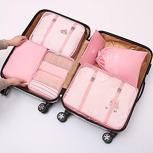 TTWLJJ Cubi di Imballaggio6 PCS Packing Cubes Organizzatore di Valigie Borsa Porta Abiti Pieghevoli Borsone per Cubi da Imballaggio per Abbigliamento Bagagli Set da Viaggio,Rosa