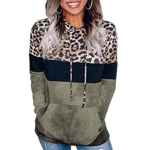 MU2M Womens Long Sleeve Color Block Pullover Drawstring Leopard Print Sweatshirts Hoodies Tops Army Green US XL