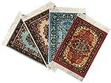 Wovenrugs 4 Beautiful Floral Drink Coasters – Oriental Carpet Designs – Absorbent Glass Mats