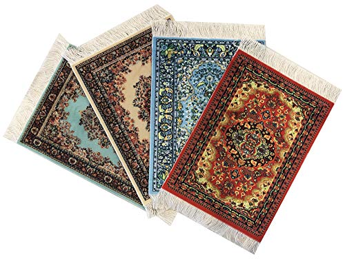 Wovenrugs 4 Beautiful Floral Drink Coasters – Oriental Carpet Designs – Absorbent Glass Mats