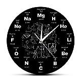 yage Símbolos químicos Reloj de Pared Elementos químicos Reloj de Tabla periódica Biología Arte de Pared Reloj novedoso Reloj Maestro de Ciencias Regalo