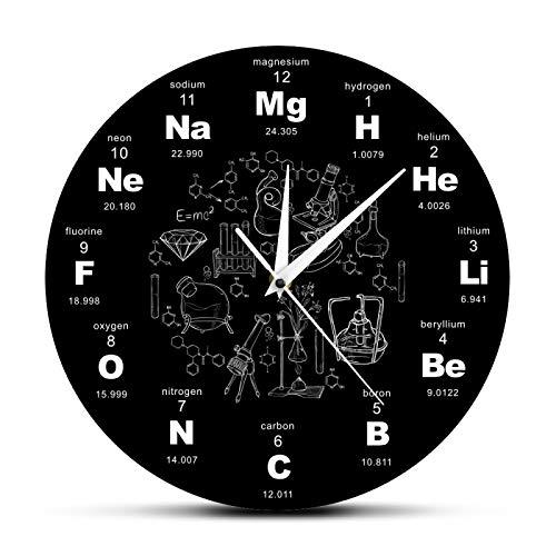 Reloj de pared de diseño moderno elementos químicos periódicos reloj de pared ciencia química símbolos reloj regalo para la química profesor oficina/hogar/escuela/cocina decoración relojes