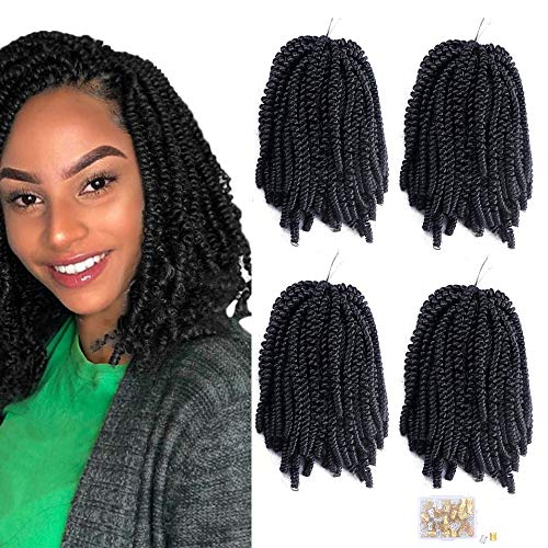 4Pack Fluffy Spring Twist Crochet Hair 8 Zoll Spring Twist Crochet Braids Haarverlängerungen Black Synthetic Crochet Braids (1B #)
