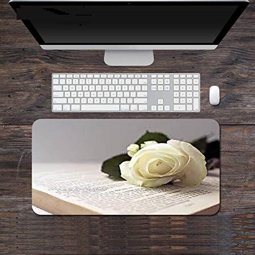 Alfombrilla de Ratón para Juegos con Estampado de Flores Blancas Accesorios para Pc Alfombrilla de Teclado de Escritorio Grande Alfombrillas de Mesa para Ordenador Portátil 800X300X3Mm