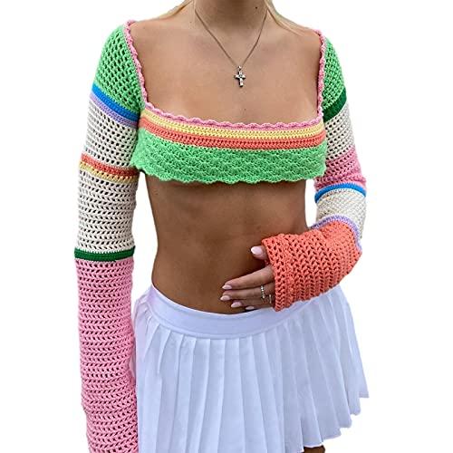 Likeu Las mujeres tejen ahueca hacia fuera la parte superior de la cosecha de Y2K de manga larga de color bloque de cuello cuadrado suéter de punto de ganchillo, Rosa y naranja., L