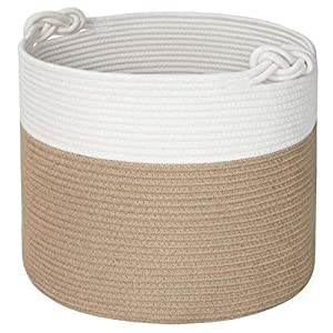 Mintwood Design 15 x 14.2 Inches Woven Cotton Rope Storage Basket, Stuffed Toy Basket Bin, Laundry Basket Hamper, Nursery Basket, Dog Toy Basket, Blanket Basket, Gift Basket – Jute