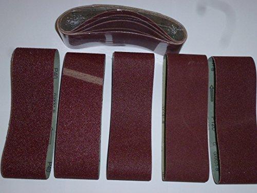 Bandas de lija (25 unidades, 75 x 457 mm, para lijadora de banda mixta, grano 40, 60, 80, 120 y 180)