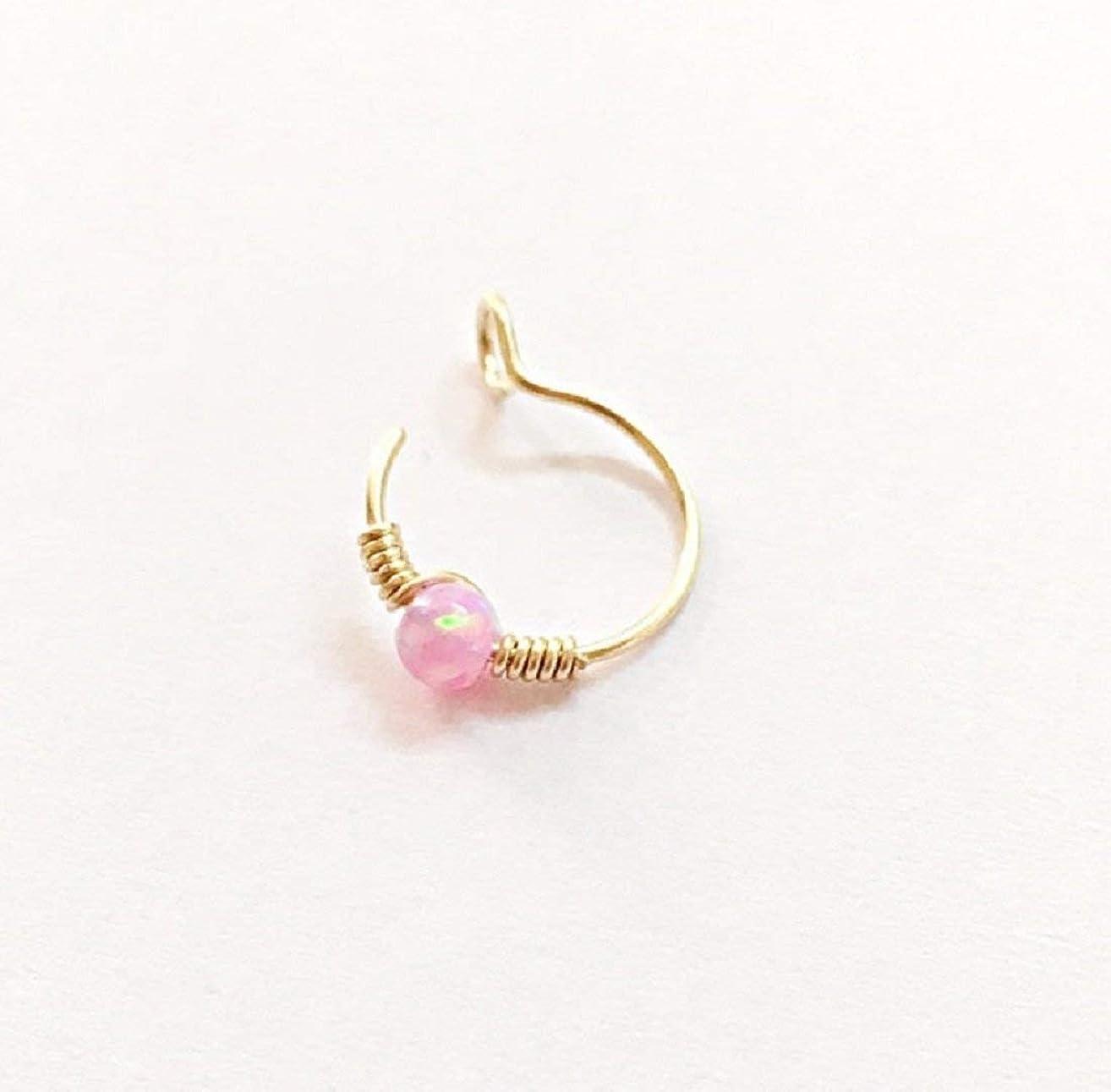 9K Yellow/Rose Gold Fake Nose Ring - Opal Non Pierced Hoop