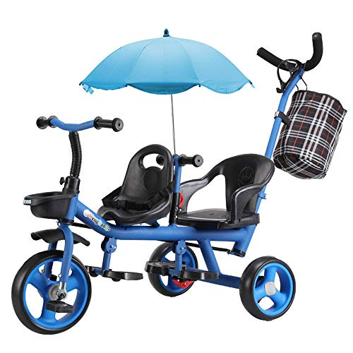 Children's Trolley, Two-Seater Two-Seater Driewieler, High Carbon Steel Material 1-6 Years Old Driewielige Kinderwagen,B