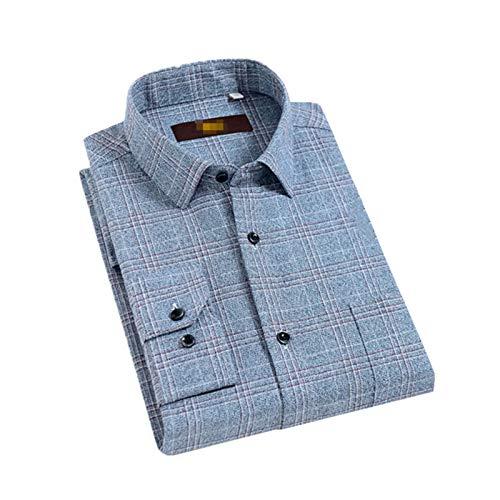 Camisa clásica de franela a cuadros de manga larga para hombre con bolsillo en el pecho de algodón cepillado grueso informal camisas de guingán