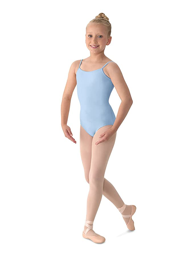 Mirella Girl's Classic V-Back Camisole Dance Leotard,Light Blue,6X-7