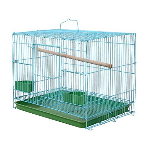 Yyooo Jaula para pájaros con forma de alambre rectangular duradera y creativa equipada con comederos ideales para pájaros pequeños canarios