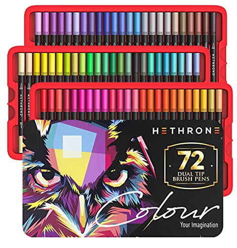Hethrone Adult Coloring Markers Dual Tip Brush Pens 72 Colors Drawing Markers Coloring Pens for Painting Calligraphy Writing