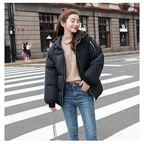 KOUPNLTM Femmes Solides Parka À Capuche Hiver Vogue Manteaux Chauds en Coton Casual Veste Femme Survêtement S Noir