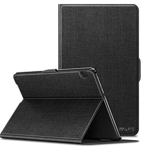 INFILAND Huawei MediaPad T5 10 Hülle,Slim Ultraleicht Halten Sie vorne Schutzhülle Cover für Huawei MediaPad T5 10 10.1 Zoll 2018 Tablet PC,Schwarz