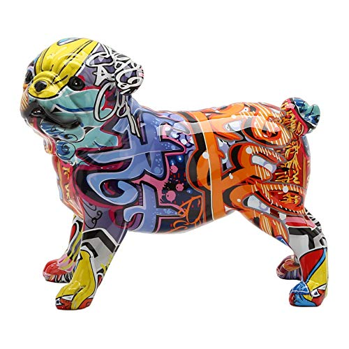 French Bulldog Home Décor Graffiti Animals Dog Sculpture Figurine, Home Office Decoration, Bookshelf Display, Animal Resin Figurine Ornaments - 23x12x18.5CM