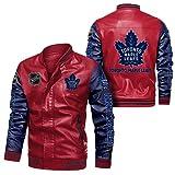 JesUsAvila Imitación cuero del bombardero chaqueta rompevientos Toronto-Maple.Leafs Racing tapa de la chaqueta de la locomotora de moda chaqueta de cuero de los hombres de Chaqueta/D /