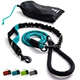 SparklyPets Heavy Duty Rope Bungee Leash for Large and Medium Dogs with Anti-Pull for Shock Absorption - No Slip Reflective Leash for Outside (Teal)