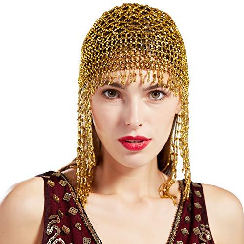 ArtiDeco 1920s Stirnband Damen Gatsby Haar Kette Exotisch Cleopatra Kostüm Accessoires 20er Jahre Flapper Blinkendes Haarband (Gold)