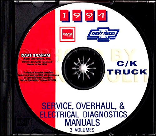 STEP-BY-STEP 1994 CHEVROLET TRUCK & PICKUP REPAIR SHOP & SERVICE MANUAL CD Includes C/K Trucks, Silverado, Cheyenne, Suburban, Blazer, Regular, Crew & Extended Cab 1500, 2500, 3500