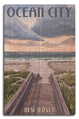 Lantern Press Ocean City, New Jersey - Beach Boardwalk Scene (10x15 Wood Wall Sign, Wall Decor Ready to Hang)